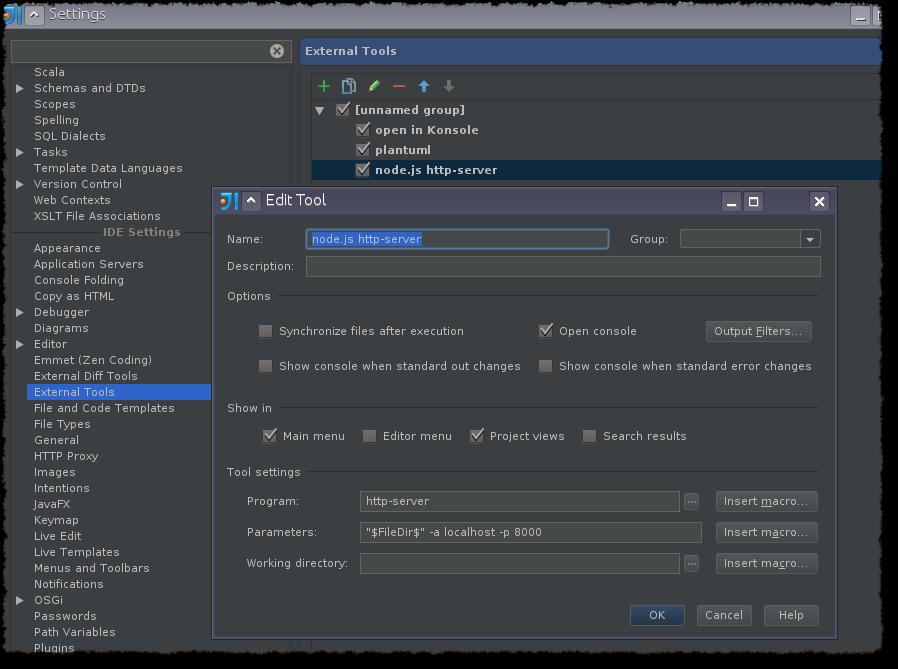 Quickly serve a directory using (nodejs) http-server in intellij